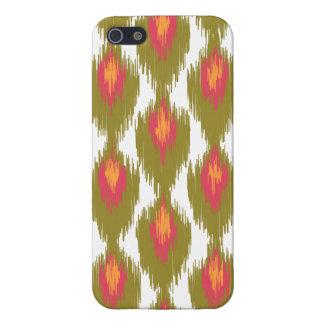 Green Magenta Abstract Tribal Ikat Diamond Pattern iPhone 5 Case