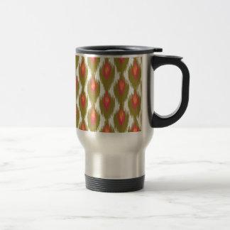 Green Magenta Abstract Tribal Ikat Diamond Pattern Coffee Mug