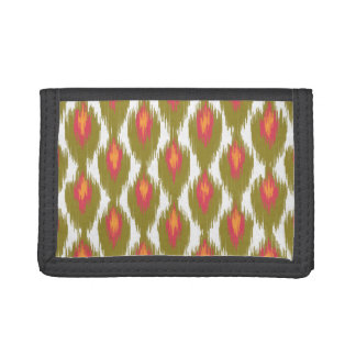 Green Magenta Abstract Tribal Ikat Diamond Pattern Trifold Wallet