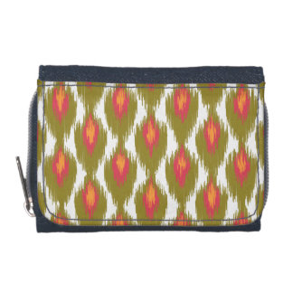 Green Magenta Abstract Tribal Ikat Diamond Pattern Wallet