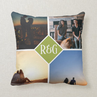 Green Make Your Own Personalised 4 Photo Monogram Cushion