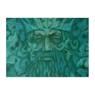 Green Man, Forest King Fantasy Art Pastel Painting