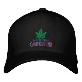 Green Maple Leaf Campground Hat Embroidered Hats