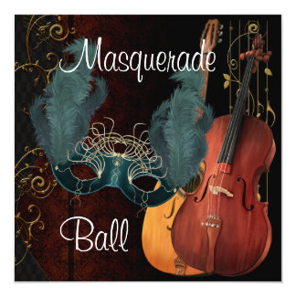Green Mask Musical Instruments  Masquerade Ball In Card