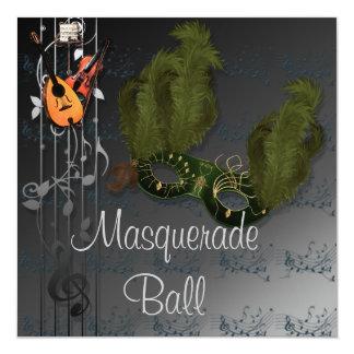 Green Mask on Black Grey Masquerade Ball Invitatio Card