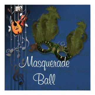 Green Mask on Blue Masquerade Ball Invitation