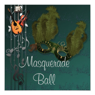 Green Mask on Green Masquerade Ball Invitation