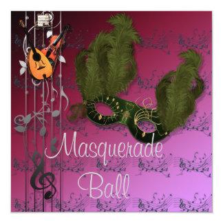 Green Mask on Pink Masquerade Ball Invitation