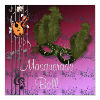 Green Mask on Pinks Masquerade Ball Invitation