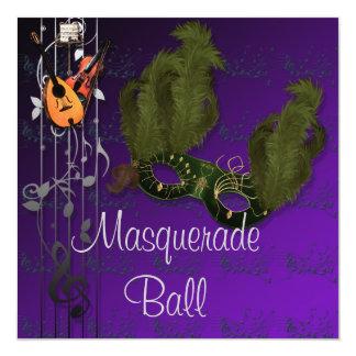 Green Mask on Purple Masquerade Ball Invitation