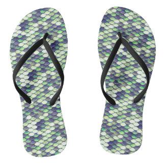 green mermaid skin pattern thongs