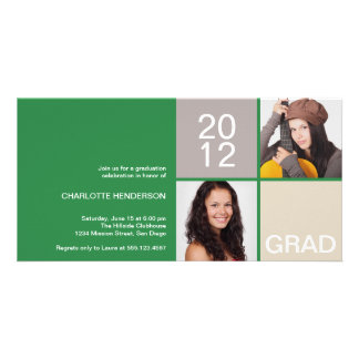 Green modern block class of grad announcement photo greeting card