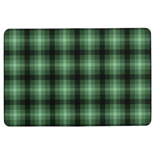 Green Monochrome Plaid Floor Mat