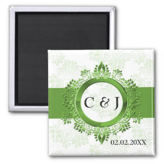 green monogram wedding save the date magnets fridge magnets
