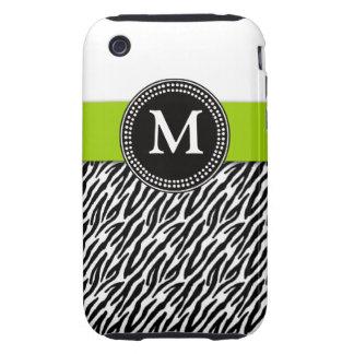 Green Monogram Zebra Pattern iPhone 3 Case-Mate Tough iPhone 3 Covers