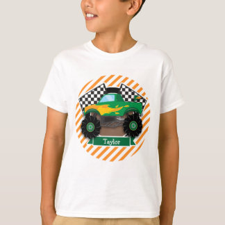 Green Monster Truck, Checkered Flag; Orange Stripe T-Shirt