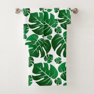 Green Monstera Plant Leaves Bath Towel Set