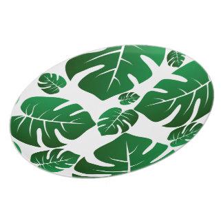 Green Monstera Plant Leaves Plate