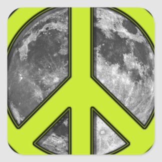 Green Moon Peace Sign - Square Sticker