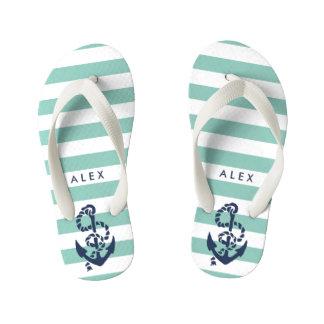 Green Nautical Anchor Boys Flip Flops