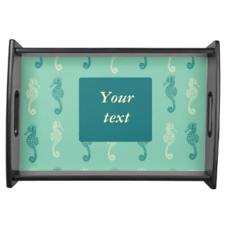 Green Nautical Seahorse Themed Serving Tray