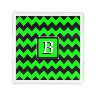 Green Neon and Black Chevron   Monogram