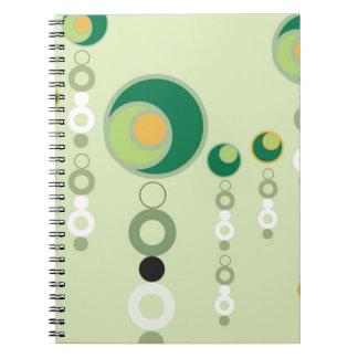 Green & Orange Bubble Blossoms Spiral Note Books