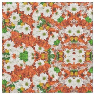 Green Orange White Flora Fabric