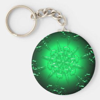 Green Ornament Basic Round Button Key Ring