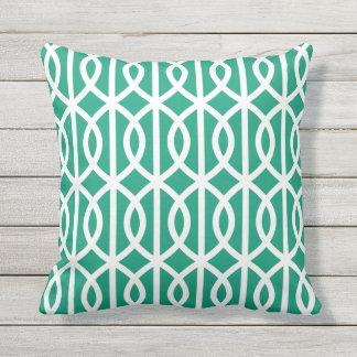 Green Outdoor Pillows Twist Trellis Pattern