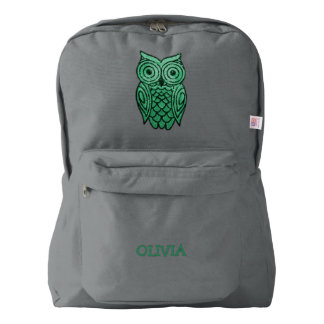Green Owl Personalized Name Girly Sequins Look Backpack