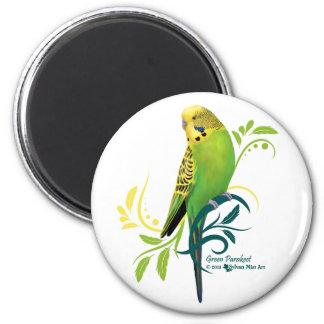 Green Parakeet 6 Cm Round Magnet