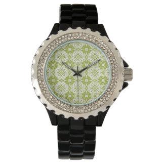 green pattern wrist watch