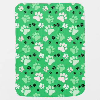 Green Paw Print Dog Crate Blanket Receiving Blankets