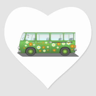 Green Peace and Love Van Heart Sticker