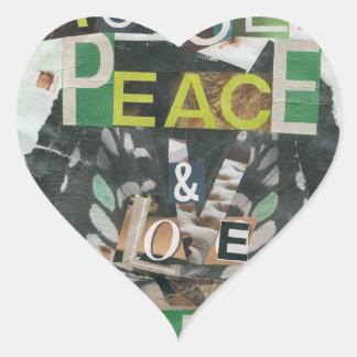 Green peace & love heart sticker