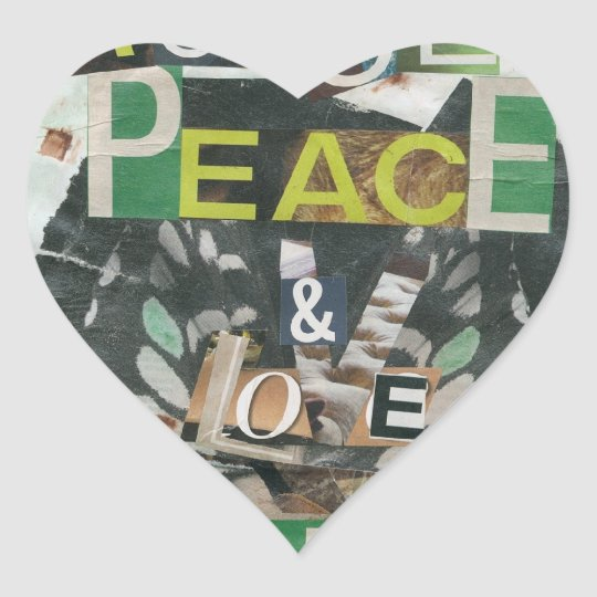 Green peace & love heart sticker