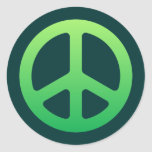 Green Peace Sign Round Sticker
