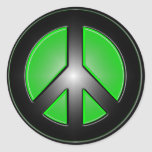 Green peace sign round stickers