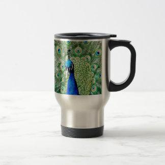 Green Peacock Stainless Steel Travel Mug