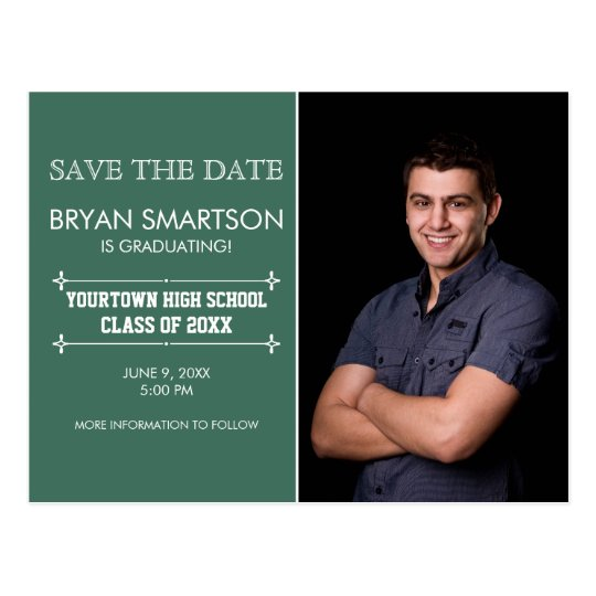 Green Personalised Photo Graduation Save the Date Postcard