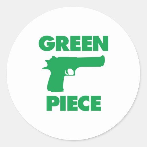 Green Piece Round Sticker