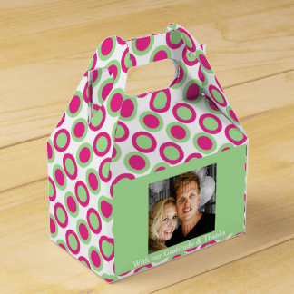 Green pink wedding photo 4a favour box
