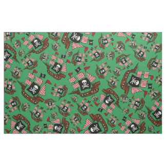 Green pirate ship pattern fabric