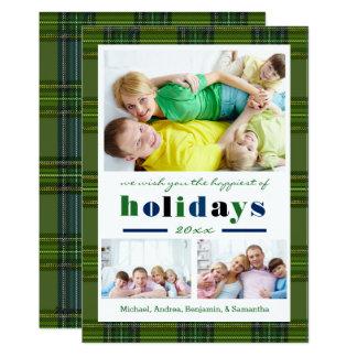 Green Plaid Happiest Holidays - Christmas Card