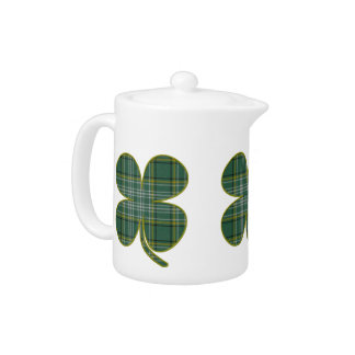 Green Plaid Shamrock Tea Pot