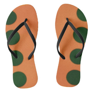 Green Polka Dot and Orange Flip Flop Thongs