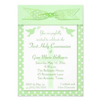 Green Polka Dot First Holy Communion Invitation