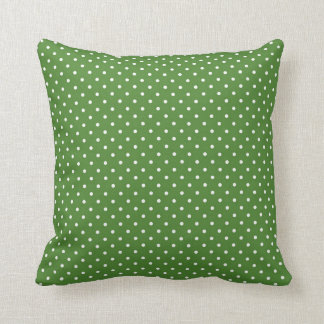 Green polka dots throw pillow