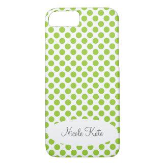 Green Polka Dots Monogram iPhone 8/7 Case